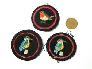 3 x Vintage Embroidered Cloth Badges Girl Guides Birds Kingfishers and Robin