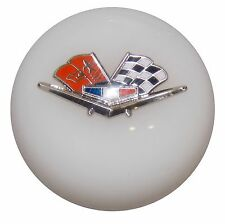 White Chevy Flags Shift Knob w/ C5 Automatic Shifter Adapter U.S MADE
