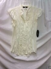 NWT!  JUNIORS VOLUME ONE SHORT SLEEVE SHIRT WITH LACE  SIZE LARGE, BUTTON UP