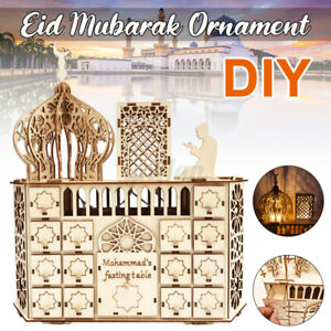 DIY Wood Ramadan Advent Calendar Eid Mubarak Countdown Calendar LED