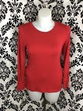 Alfani Macy's Large Red Stretch Rayon Jersey Long Sleeve Crew Tee Tunic Top