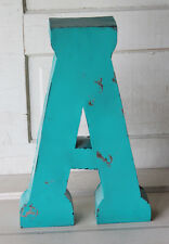 """20"""" Industrial Rustic Block Letter A Sign, Teal, Recycled Metal Letter"""