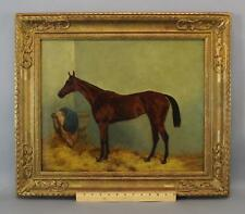 19thC Antique, Harry Hall, Equestrian Racehorse O/C Horse Portrait Oil Painting
