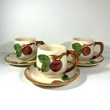 3 Franciscan Apple Short Mugs Cups with Saucers Coffee Tea England