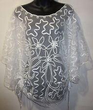 Top Fits L XL 0X White Lace Sheer Floral Ribbon Design Poncho Tunic NWT 3891