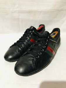 Gucci Black Leather Mens Sneakers Size 8.5 Green & Red Stripes