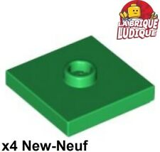 Lego - 4x Plate Modified 2x2 Groove 1 stud center vert/green 87580 NEUF
