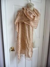 J. Crew Scarf Pashmina Wool Blend Peach Orange White Beige Polka Dots Fringed
