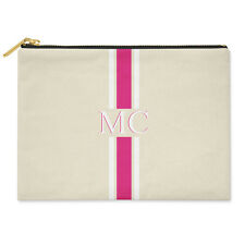 PERSONALISED MONOGRAMMED INITIALS PINK STRIPED COTTON CANVAS CLUTCH BAG POUCH