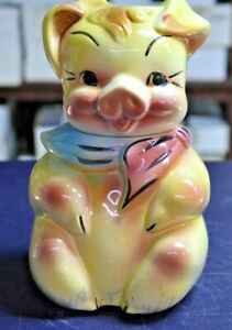 VINTAGE AMERICAN BISQUE 1950S VIBRANT PIG CERAMIC COOKIE JAR CONTAINER 12""