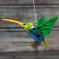 Glass Hummingbird (Colibri) Bird Animal Figurine, Handmade, Pendant 3""