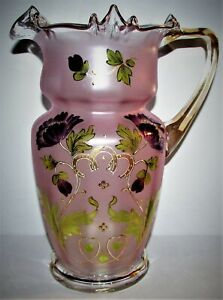 Antique Amethyst Frosted Glass Water Pitcher Gold Gilt Trim Flowers & Horseshoes