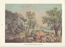 "1974 Vintage Currier & Ives FARM LIFE ""FARMERS HOME AT HARVEST"" COLOR Lithograph"