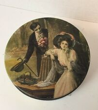 "Nostalgic Victorian Scene Round Metal Collector Tin 6 1/2"" Diameter"