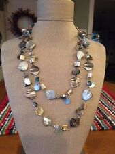 Lia Sophia Ocean Air Silver Blue Faux Mother Of Pearl Shells Long Necklace