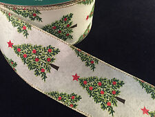 """50 Yards! Christmas Trees Wired Ribbon  2.5"""" Wide Wholesale  Bulk"""