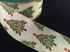 "50 Yards! Christmas Trees Wired Ribbon  2.5"" Wide Wholesale  Bulk"