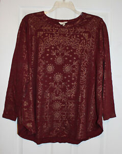 Lucky Brand Womens 1X Plus Burgundy Gold Metallic Design Tee Shirt Top NWT