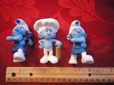 "Set of 3 Smurfs Action Figures, Figurines. 3"", Gutsy, Baker, EUC."