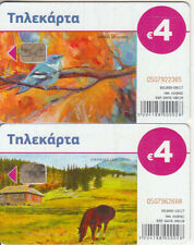 Greece 2 different phonecards Painting 2017 used