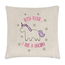 Lila Bitch Please I Ride A Unicorn Linen Cushion Cover Pillow - Funny