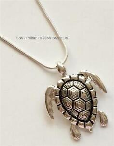 Silver Sea Turtle Necklace Sea Life Nautical BIG Chunky Pendant USA Seller