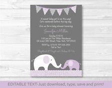 Purple Chevron Elephant Mom & Baby Printable Baby Shower Invitation Editable PDF