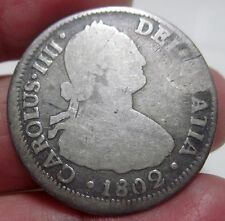 1802 JJ (SANTIAGO-CHILE) 2 REALES (SILVER)  --- RARE TYPE----