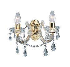 Lámpara Pared Clásico Sala De Estar Dormitorio Cristal Cromo Oro