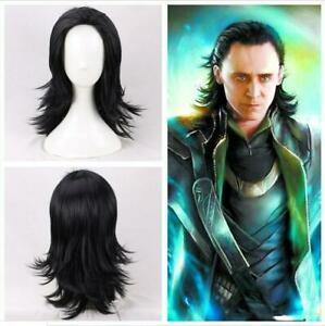Cosplay Avengers Loki Wigs Superhero Black Wavy Wigs Holloween Masquerade Props