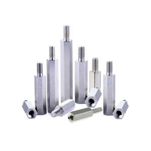 4 x Distanzhülsen Abstandsbolzen M3 Innen -Außengewinde Metall 6-kant L= 5-25 mm