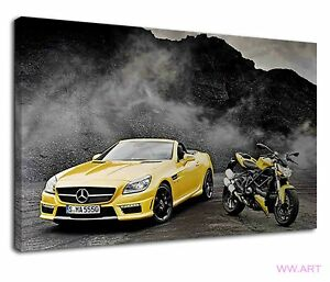 Lovely Yellow Car And Bike On Dusty Mountain Road Canvas Wall Art Picture Print