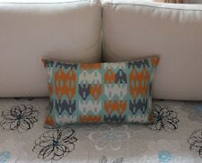 Blue Grey Orange Geometries Cotton Linen Cushion Cover Lumbar Pillow Decor H3074