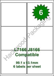 6 Labels per Sheet x 50 Sheets White Matt Copier Inkjet Laser