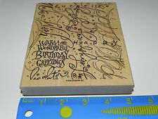 Stampin Up Happy Birthday Greetings Large Background Stamp