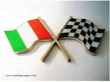 Enamel Chrome ITALIAN FLAG & chequered flag crossing Car Badge Fiat