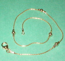 3 pieces 14kt 1/20 Gold Filled 0.8mm Chain and 4mm Beads Beaded Anklets Lot