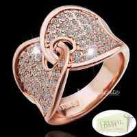 50%Off 18k Rose Gold Plated Stamped Engagemet Ring Swarovski Crystals Size Q 8