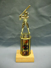 Baseball theme trophy award solid wood base
