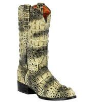 Details about  /Mens Biker Boots Brown Cowboy Alligator Back Print Western Leather Square Toe