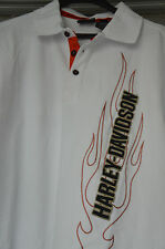 Authentique Harley Davidson H-D Mens Polo Shirt blanc 100 % coton XL XL NEWTAGS