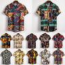 Men's Casual Floral Pattern Dress Shirts Short Sleeve Hawaiian Shirt Flower Tops