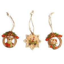 3pcs/set Christmas Tree Hanging Ornament Hot Wood Santa Snowman Deer Xmas Decor