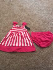 Faded Glory Toddler Girls Pink White Striped Dress Set New 3-6 Months