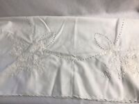 "Vintage Hungarian Early Kalocsa Embroidered White on White Tablecloth 33"" Square"