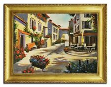 Real Oil Painting Pictures Old Town Italy with Frame Painted G96440