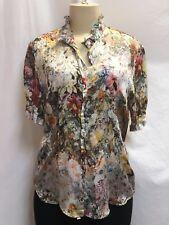 Georg Roth Los Angeles- 100% Silk Floral & Lace Print Blouse- Multi-color- Sz M