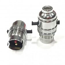 Lamp Bulb Holder Chrome Safer Switched Bayonet BC22 Fitment 10mm Threaded Entry