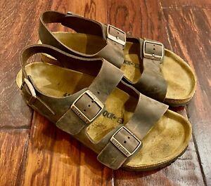 Birkenstock Milano Havana Brown Leather Backstrap Sandals 41