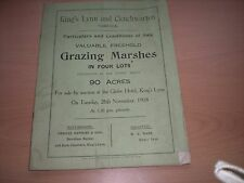 Particulars/Plan & Conditions Of Auction Sale Of GRAZING MARSHES In Norfolk 1918